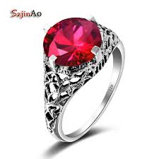 ruby sterling rings images Szjinao handmade famous brand women rings round red ruby wedding jpg