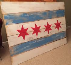 Painting A Flag 60x33 Chicago Flag On Pallet Wood Wooden Art Painting