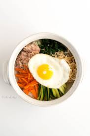 poached tuna tuna bibimbap pink wings