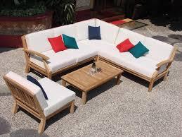 wooden corner sofa set 5 pc teakwood teak wood indoor outdoor patio sectional sofa set pool