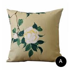 Grey Linen Cushions Chinoiserie Flower Decorative Pillows For Grey Couch Linen Sofa