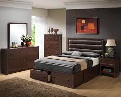 classic chocolate wooden platform bed leather stripes headboard