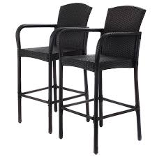 Patio Furniture Chairs by 2 Pcs Rattan Bar Stool Set High Chairs Outdoor Chairs Outdoor
