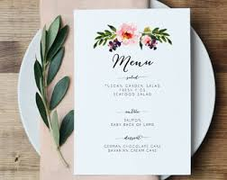 diy wedding menu cards floral wedding menu wedding menu card floral wedding wedding
