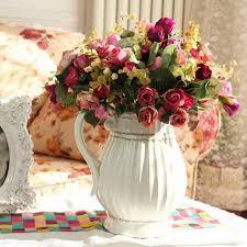 artificial flowers silk rose bouquet wedding decorations home