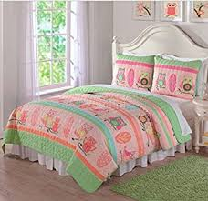 Girls Striped Bedding by Amazon Com 2 Piece Girls Cute Owls Themed Quilt Twin Set All