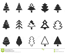 simple pine tree icons set stock vector image 45332854