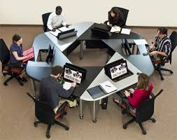 Computer Lab Tables And Chairs Exchange Hexagonal Collaboration Table By Smartdesks Used With