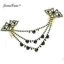 stonefans black gold hair for hairpin trendy