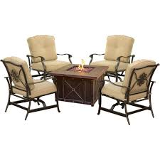 Patio Furniture Sets With Fire Pit by Hanover Fire Pit Sets Outdoor Lounge Furniture The Home Depot