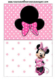tarjetas para imprimir gratis de minnie mouse en rosa blanco y