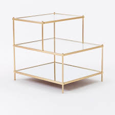 brass and glass end tables terrace side table west elm