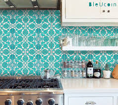 kitchen backsplash tile stickers tile decal indian hand painted tiles 44 tiles by bleucoin on etsy