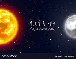 half moon and sun sky background vector image