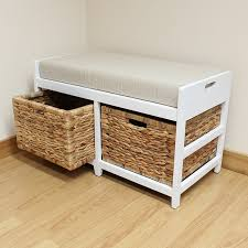 Storage Bench With Baskets Amazon Com Hartleys Bench Cushion Seat U0026 Seagrass Wicker Storage