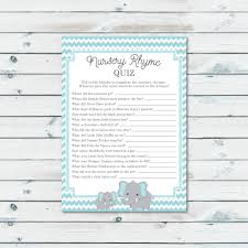 elephant baby shower nursery rhyme quiz game printable blue