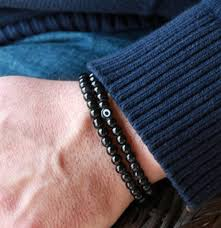 mens bracelet stones images 2018 sn0047 6mm black obsidian stone bracelet double wrap mens jpg