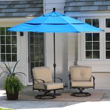 Beach Shade Umbrella Coral Coast 11 Ft Spun Polyester Patio Umbrella With Push Button