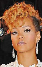 short hairstyle curly on top photo of rihanna with her extreme short haircut with long curly