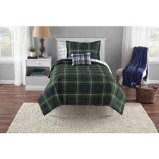 Green Plaid Duvet Cover Mainstays Green Plaid Complete Bedding Set Walmart Com