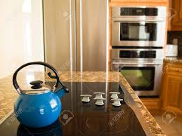 modern american kitchen bright blue traditional whistling kettle in modern american