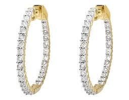 inside out diamond hoop earrings 10k yellow gold miracle set one row inside out diamond hoop