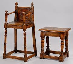 lot 317 english jacobean high chair and small table stool
