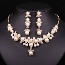 trendy pearl necklace images Trendy indian jewelry set wedding bridal accessories gold color jpg