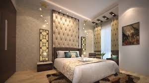 view of bed room designed with wooden bed having fabricated back