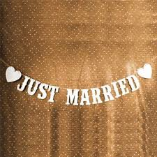 cheap just married wedding banner party decoration bunting garland