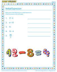 verbal expression u2013 printable algebra worksheets for kids u2013 math
