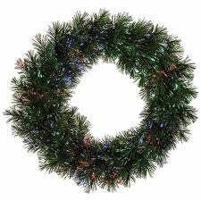 24 pre lit fiber optic artificial pine christmas wreath multi