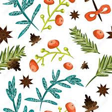 botanical wrapping paper seamless christmas background tile botanical pattern vector