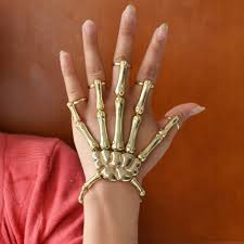 fashion hand rings images Fashion golden halloween hand skeleton elastic bracelet bangle jpg