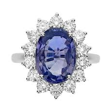 natural sapphire rings images Unheated natural sapphire oval with diamond rbc cluster ring jpg