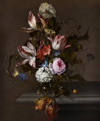 Bouquet Of Flowers In Vase Still Life Of Flowers In A Glass Vase On A Stone Table Ledge