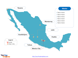 Map Of Usa Capitals by Free Mexico Powerpoint Map Free Powerpoint Templates