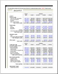 corporate analysis balance sheet for excel excel templates
