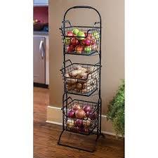 fruit basket stand wire storage basket bins shelving 3 tier rack organizer fruit