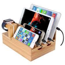 apple bureau 6 port usb rapide chargeur de bureau station de recharge bambou