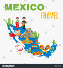 Mexico Map by Mexico Map Traditional Food Birds Costumes Stock Vector 392552599