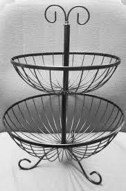 metal fruit basket 2 tier fruit basket rack stand holder storage metal wire stripes