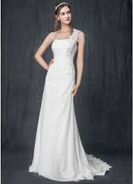 one shoulder wedding dress one shoulder chiffon gown with floral appliques david s bridal