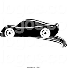 royalty free clip art vector logo of a black and white sports car