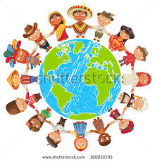nationalities different culture standing together holding stock