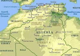 algeria physical map alger map