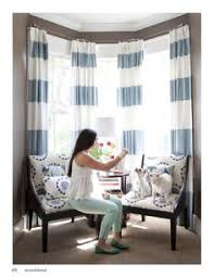 White And Blue Striped Curtains Bedroom By Kelley Proxmire With White Curtains With Blue Trim And
