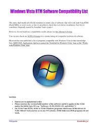 List Of Software by Windows Vista Rtm Software Compatibility List Antivirus Software