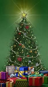 christmas pine tree around gifts iphone 6 plus wallpaper