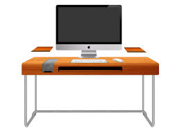 modern orange computer desk design with black keyboard and white